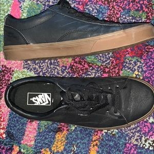 Mens Black Leather Vans. Size 10. Worn Once!